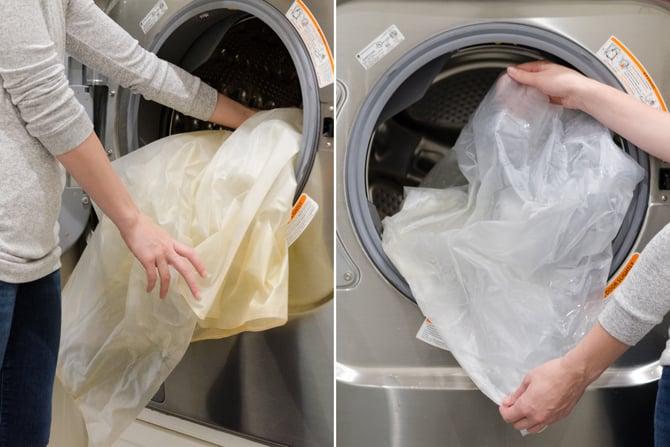 Cortinas de la ducha lavadas en la lavadora