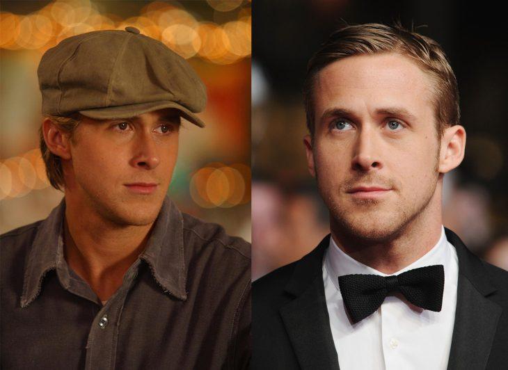 Ryan Gosling con y sin lentes de contacto para el papel de Noah en diario de una pasión