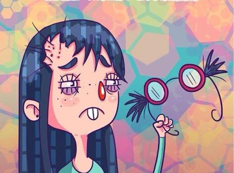ilustración chica con cabello atorado en bisagras de lentes