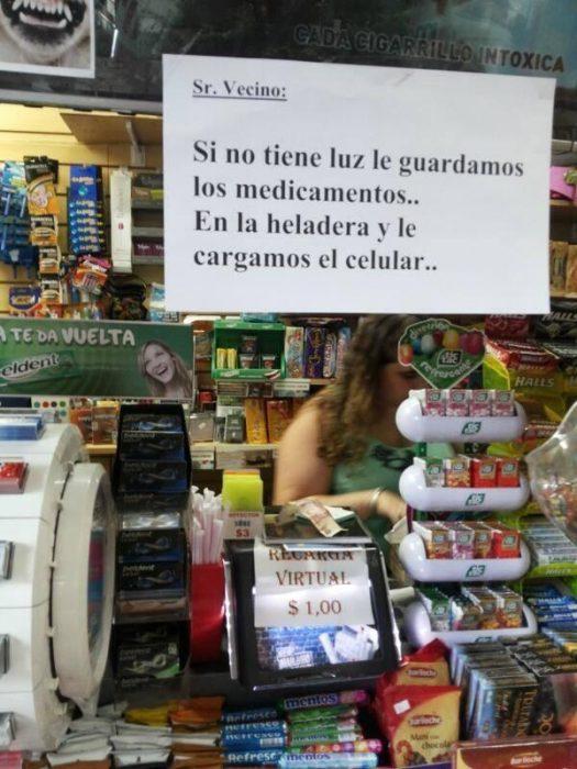 letrero en una tienda