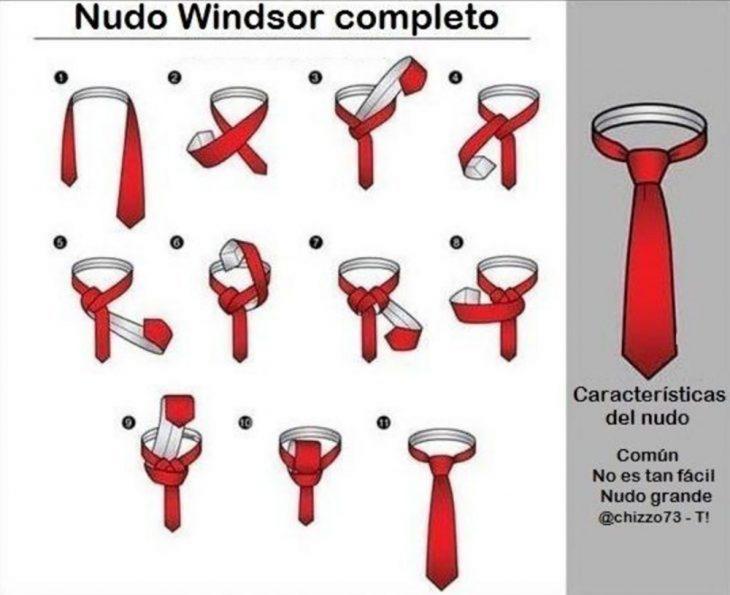 ilustracion guia para hacer nudos de corbatas