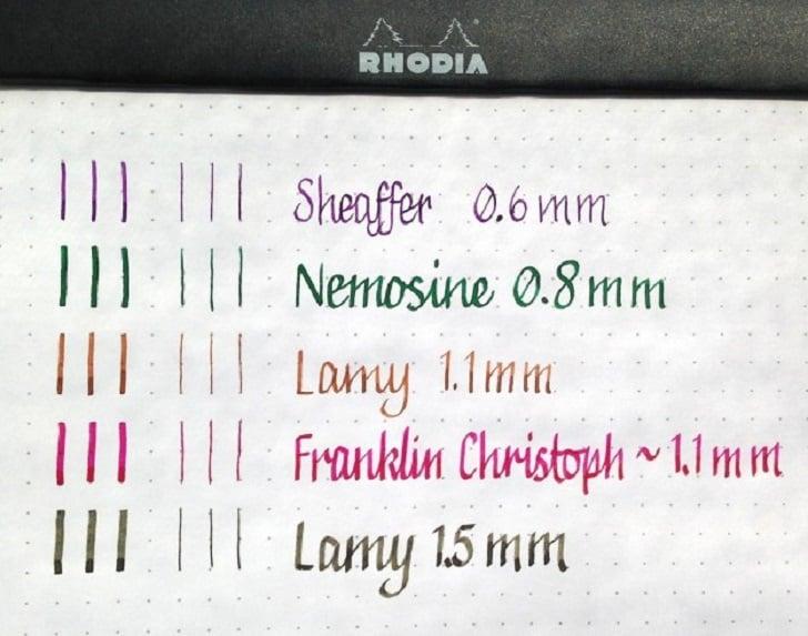 diferentes gruesos de linea escritos con plumas de colores
