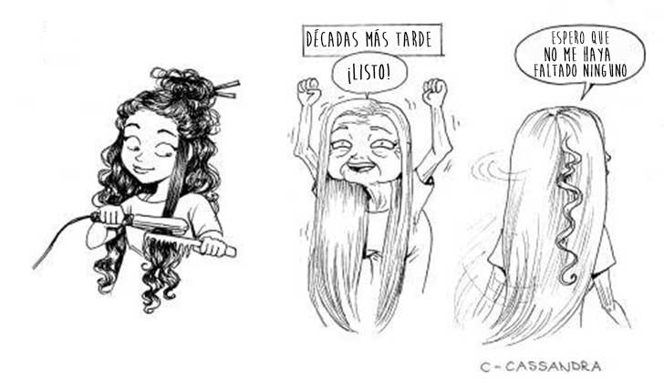 Ilustración de chica con el cabello largo después de plancharlo