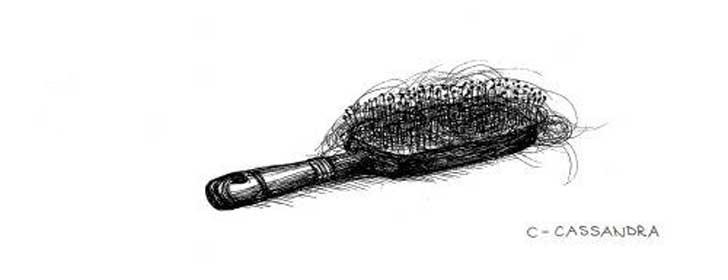 Ilustración de un peine lleno de cabello