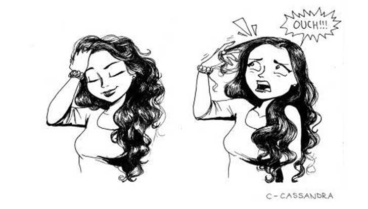 Ilustración de chica con el cabello largo y enredado
