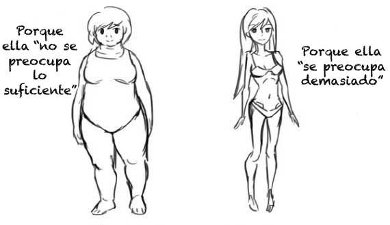 Cómic en donde se compara el cuerpo de una chica obesa y una delgada