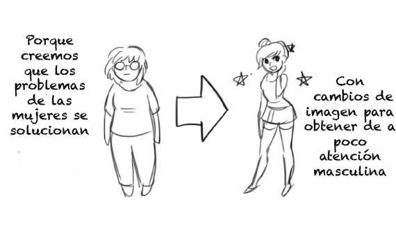 Cómic en donde se compara el cuerpo de una chica delgada con el de una gordita