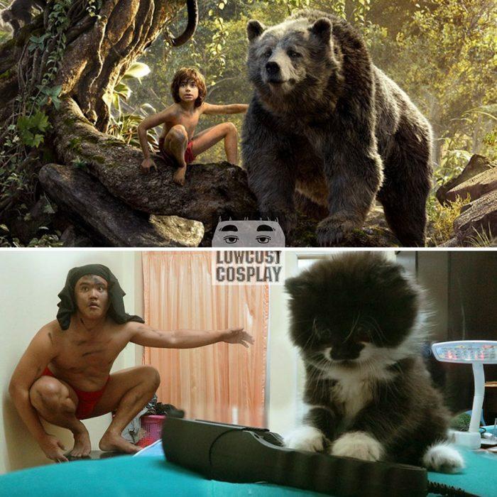 cosplay tailandés mowgli y baloo