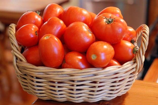 Canasta llena de tomates rojos