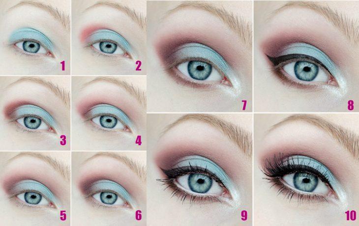 Tutorial de una chica con maquillaje en tonos pastel