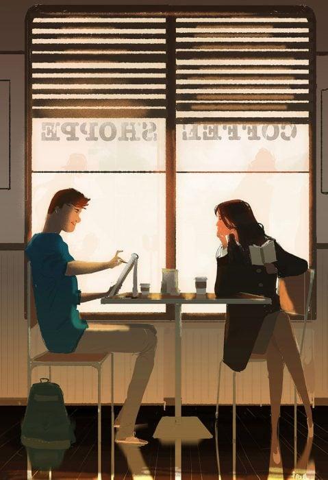 Ilustraciones que demuestran el amor verdadero. Pareja sentados en un café conversando