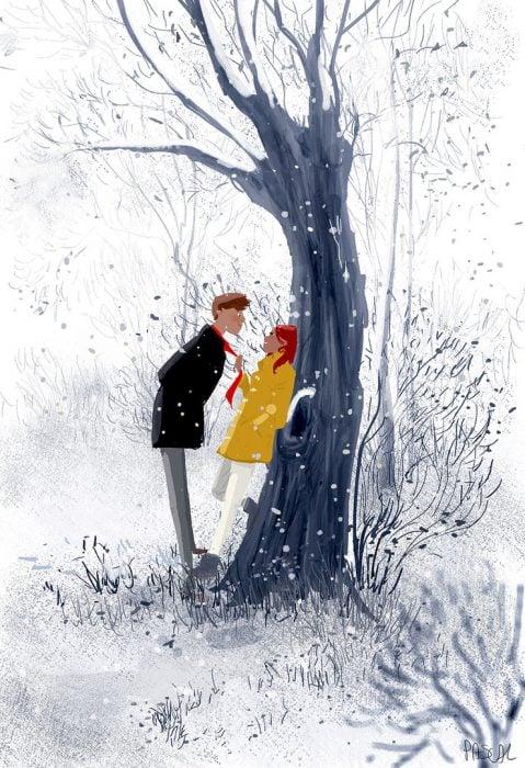 Ilustración pareja en la nieve
