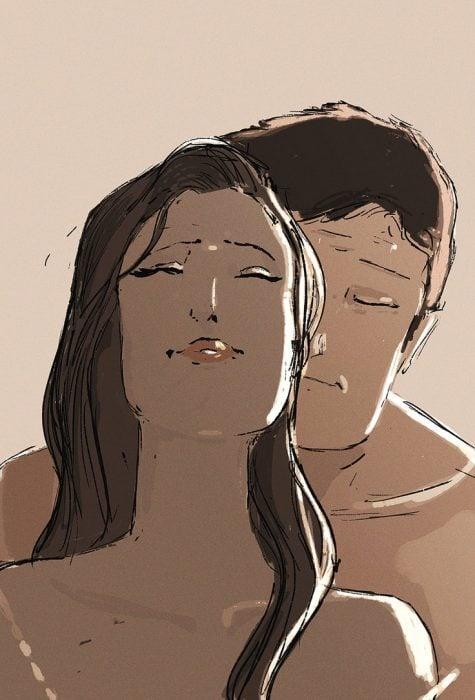Ilustración pareja en la intimidad