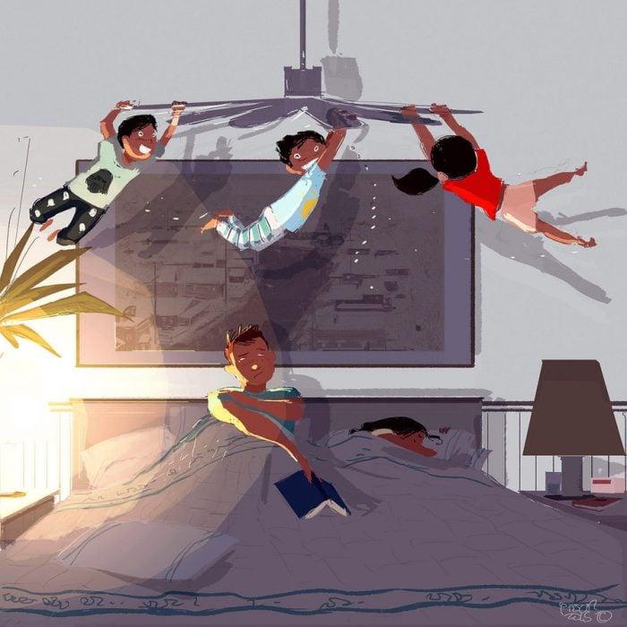 Ilustración niños jugando junto a sus padres