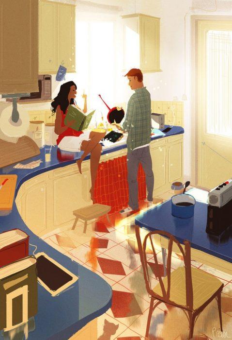 Ilustración de pareja cocinando