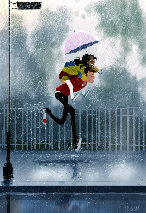 Ilustración de una pareja corriendo bajo la lluvia