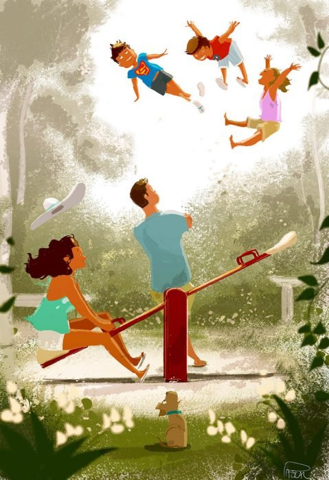 Ilustración de una familia jugando