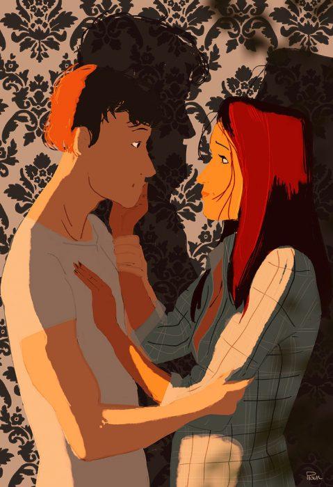 Ilustración pareja mirándose a los ojos