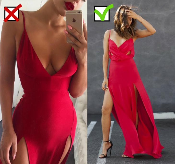 mujer vestido entallado con escote largo y mujer de cabello corto con vestido largo rojo
