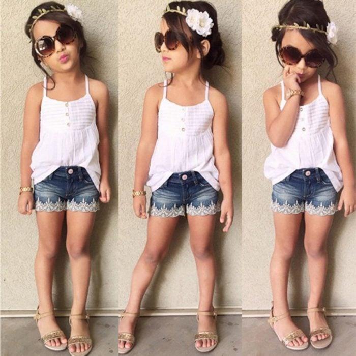 atuendo de niña con blusa blanca