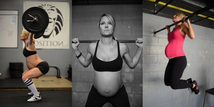 Mujer embarazada haciendo levantamiento de pesas y crossfit