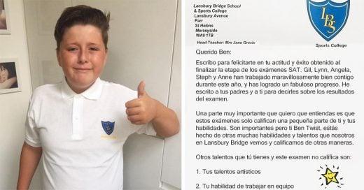 Niño autista reprueba examen y recibe de su maestra la carta más conmovedora que leerás