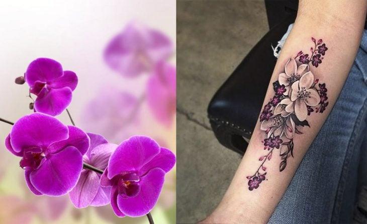 Orquídea y tatuaje de orquídea.