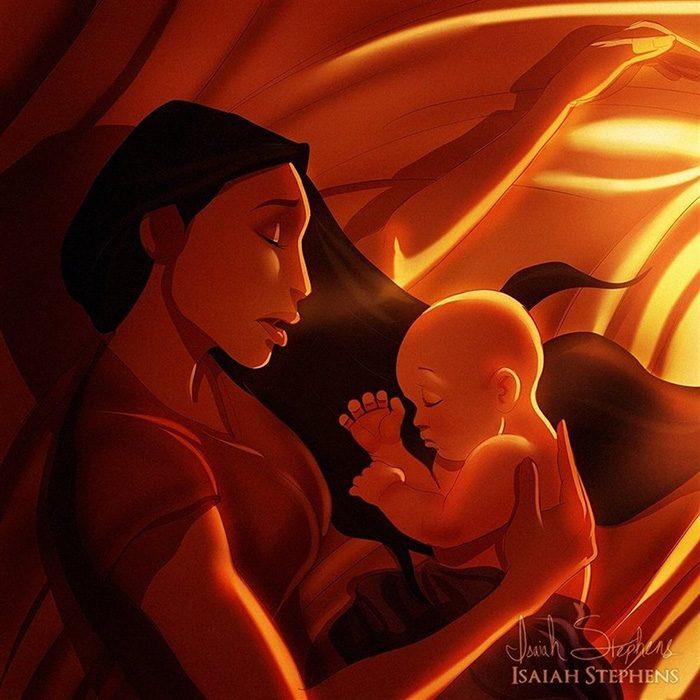 Ilustración de Pocahontas durmiendo al lado de su bebé