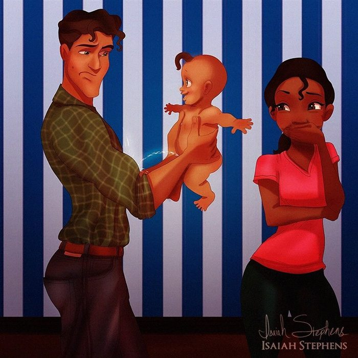 Ilustración de Tiana viendo al príncipe jugar con su bebé