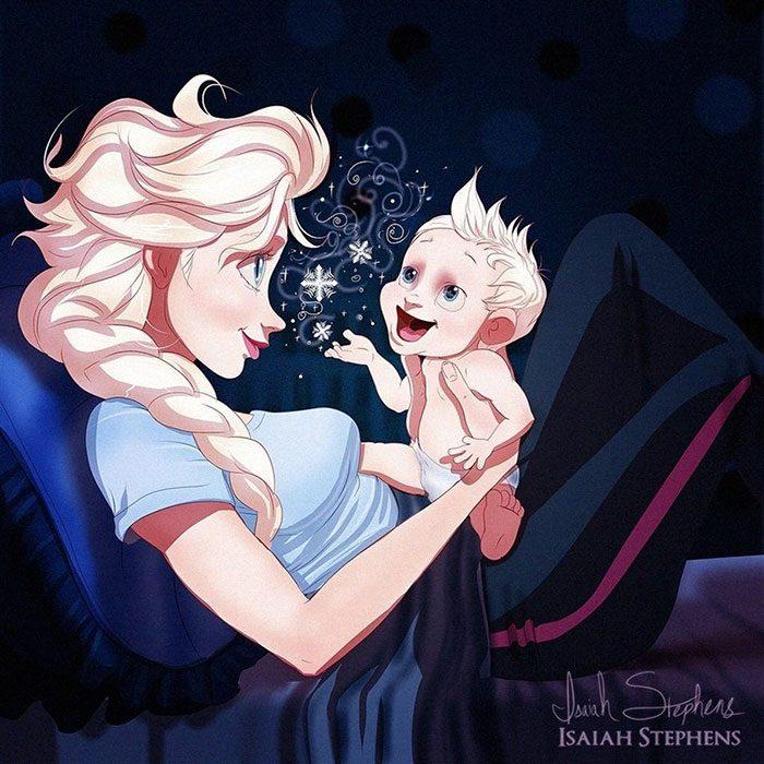 Ilustración de Elsa de Frozen jugando con un bebé
