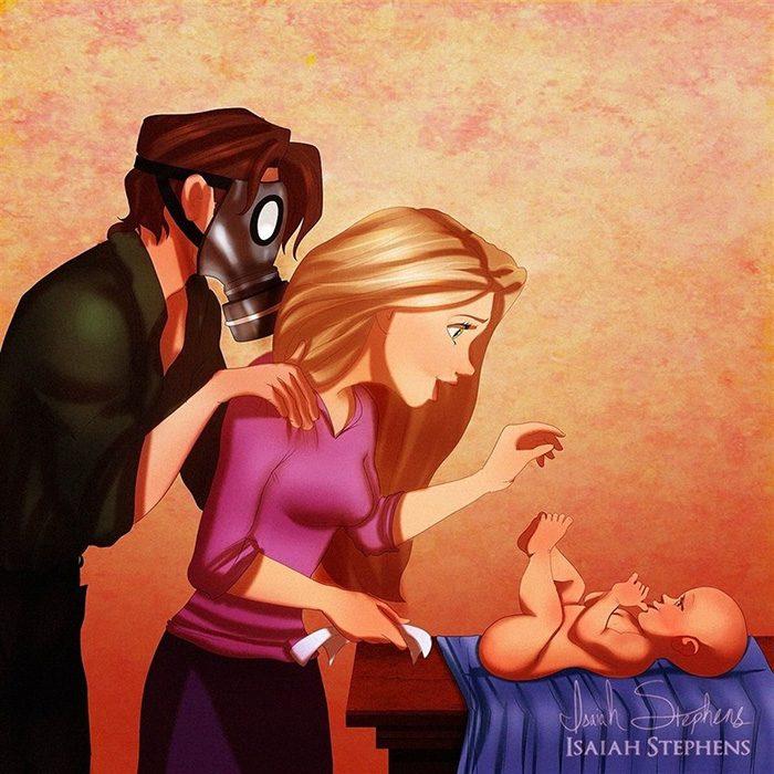 Ilustración de Rapunzel junto a yiyin cambiando los pañales de un bebé