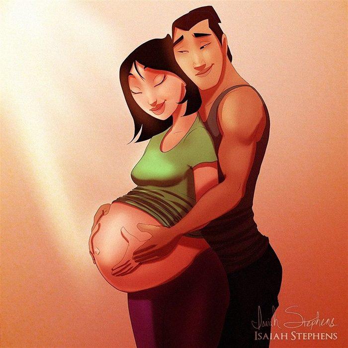 Ilustración de Mulan y el príncipe admirando su vientre de embarazo
