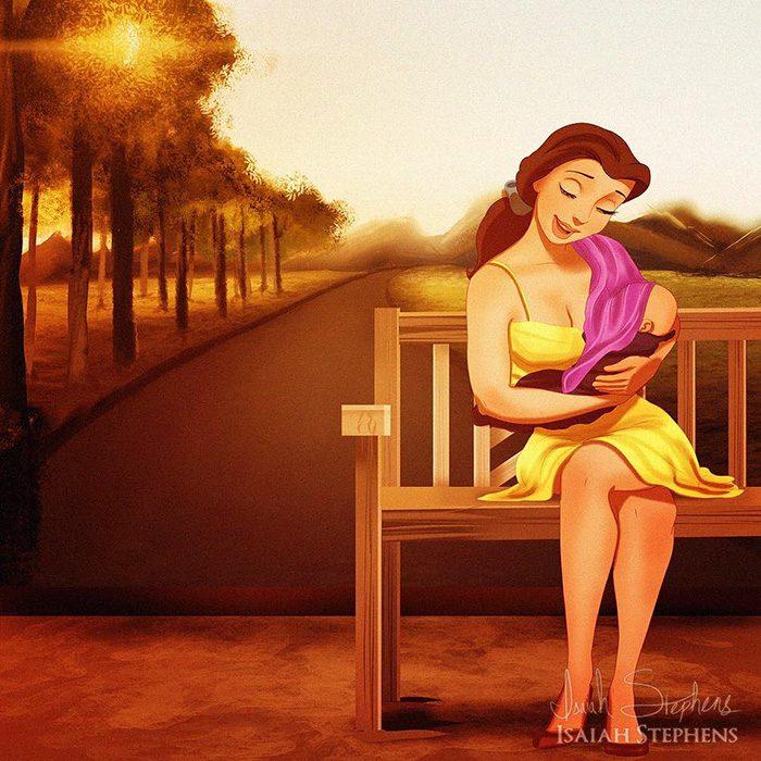 Ilustración de Bella amamantando a su bebé en un parque