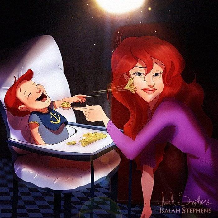 Ilustración de Ariel de la sirenita alimentando a un bebé
