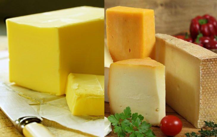 pedazos de mantequilla y queso