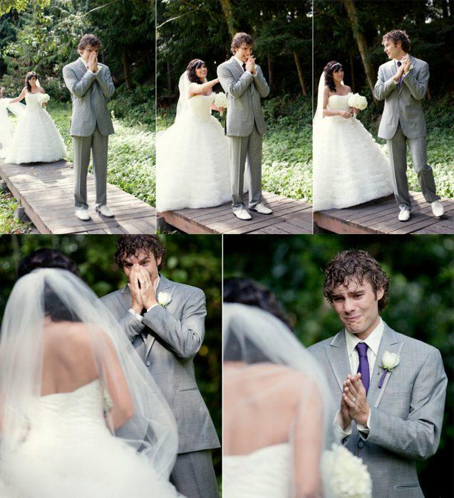 Novio llorando cundo ve a su novia por primera vez