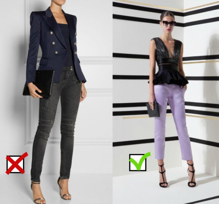 mujer con jeans y tacones pantalones lila