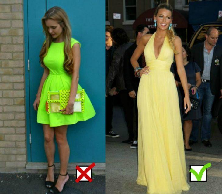 mujer con vestido corto color neon y vestido amarillo
