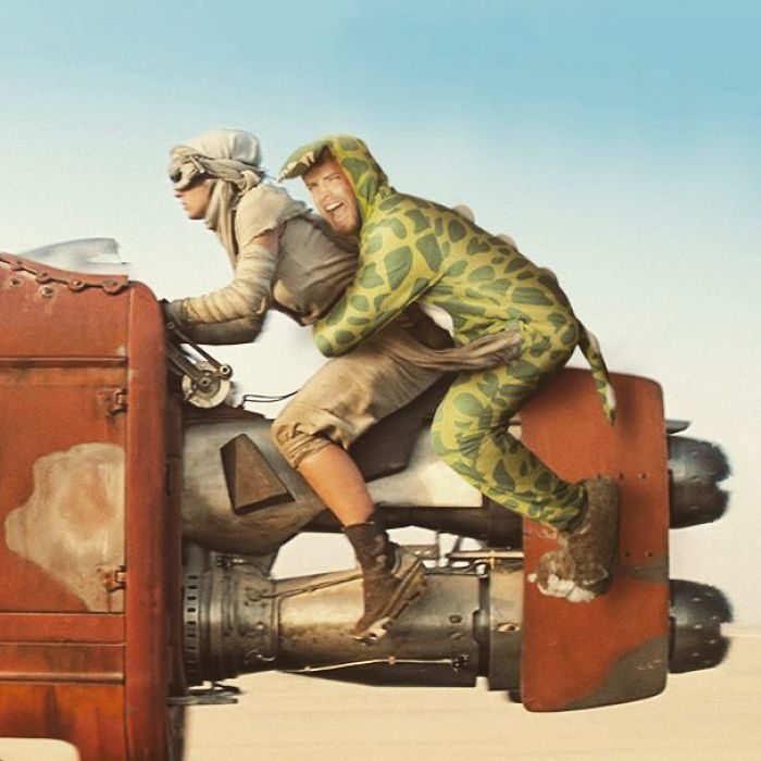 Lorenz Valentino como dinosaurio en fotografía con Photoshop