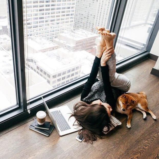 Chica recostada en el suelo junto a su computadora y su perro