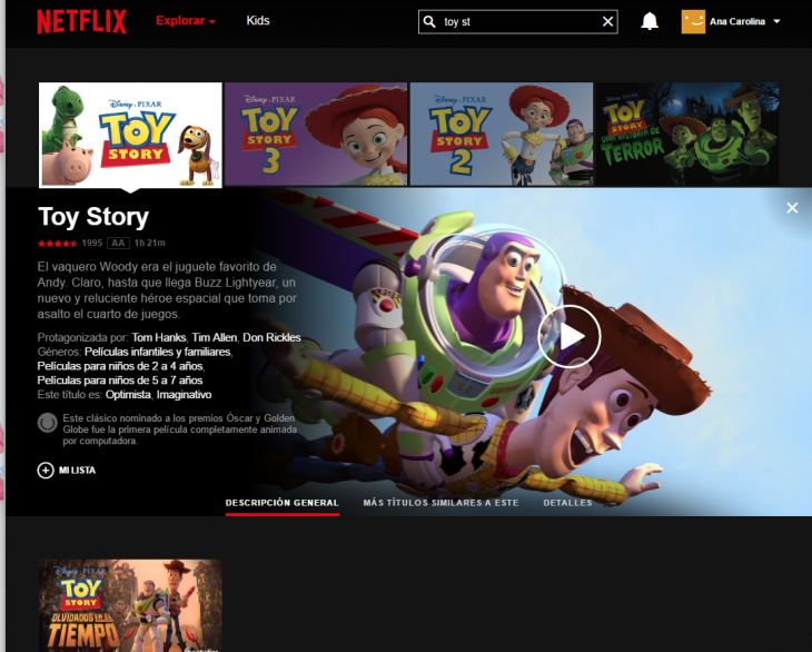 pantalla netflix pelicula de toy story