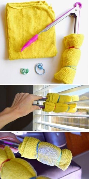 Pinzas de la cocina con dos toallas amarradas en ellas para limpiar las persianas
