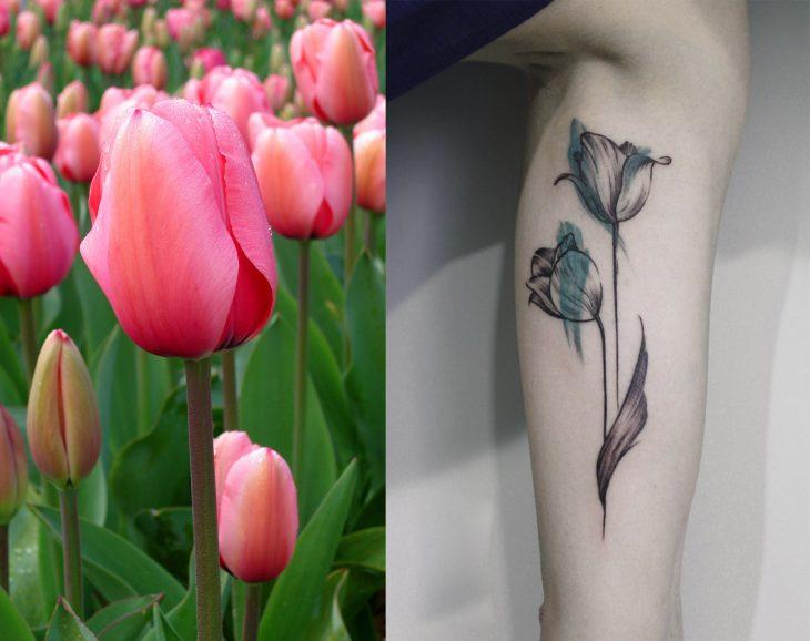 Tulipán y tatuaje de tulipán.