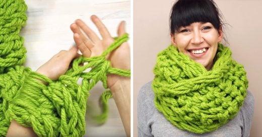 Así de fácil puedes hacer una bufanda en 30 minutos