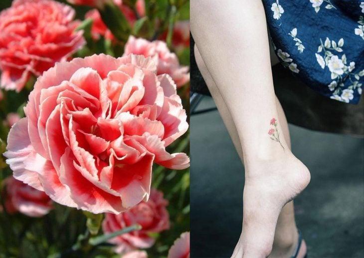 Clavel y tatuaje de clavel.