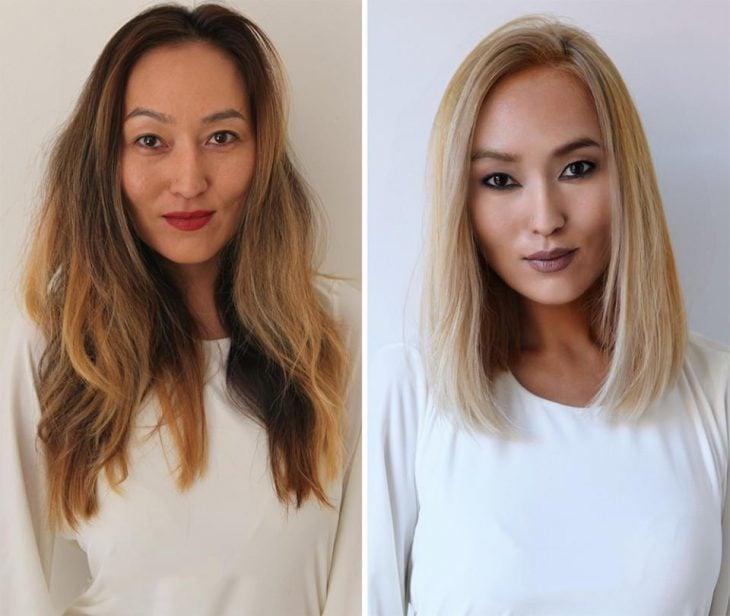 Chica con un cambio de look de cabello largo a corto