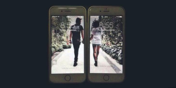 Pareja en portadas de celulares.