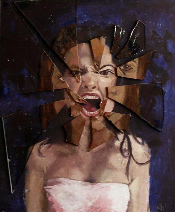 pintura de mujer enojada y vidrios quebrándose