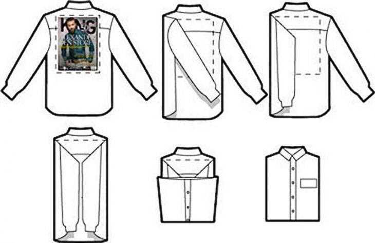 dibujo ilustración de camisas y revista de hombre para doblarlas