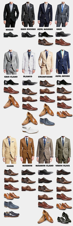 grafica con zapatos por color y orden con trajes de hombre